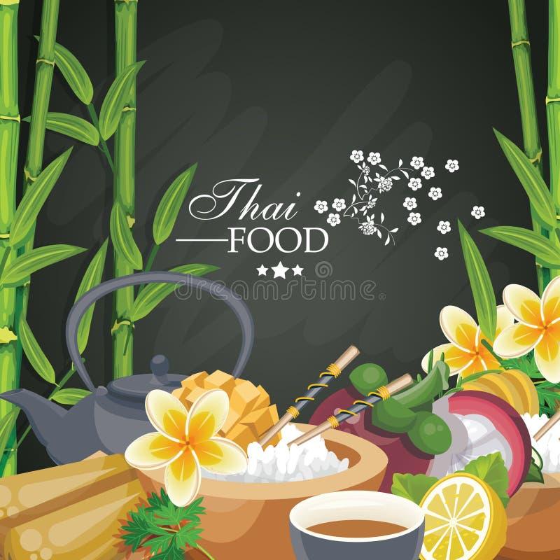 Zuidoostaziatisch voorbereid voedsel Thaise Keuken Etnische maaltijd van Thailand voor menu vector illustratie