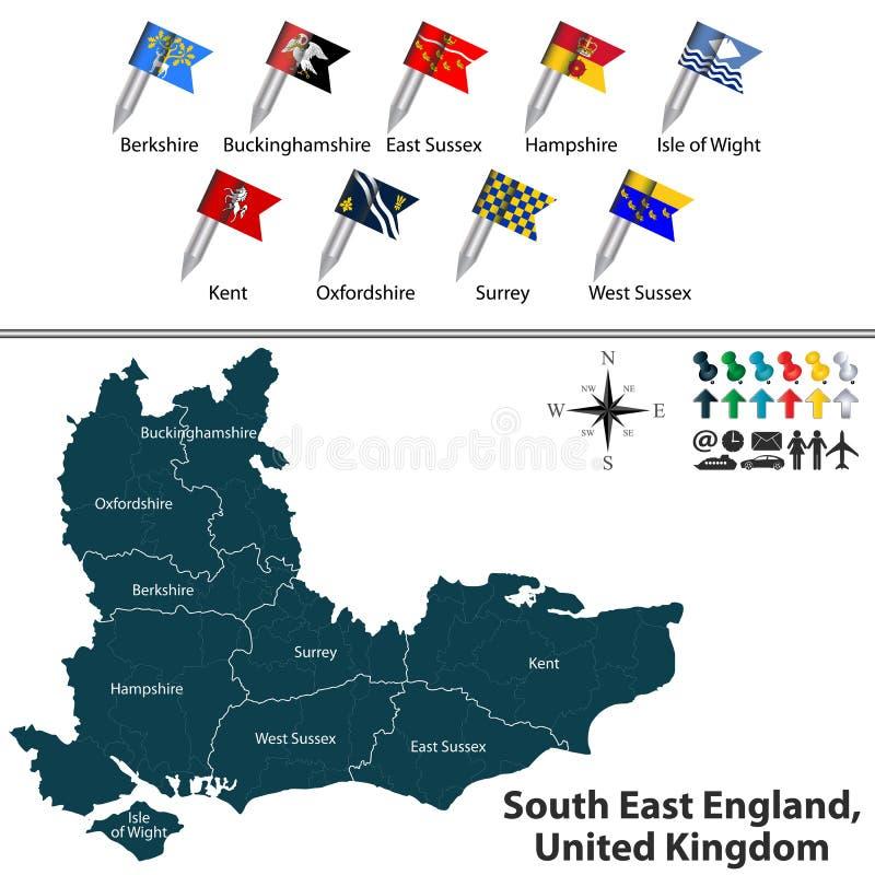 Zuidoostenengeland, het Verenigd Koninkrijk stock illustratie