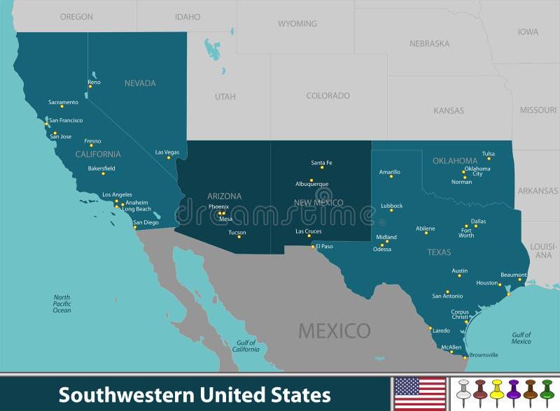 Zuidwestelijke Verenigde Staten royalty-vrije illustratie