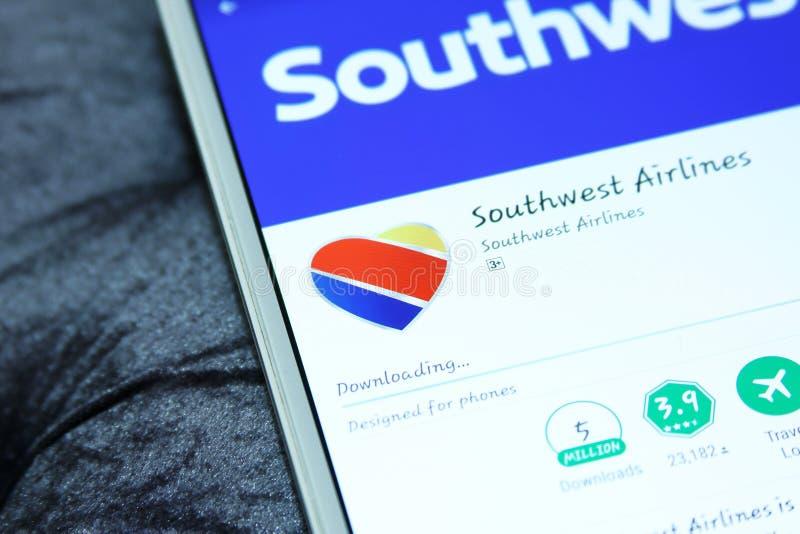 Zuidwestenluchtvaartlijnen mobiele app stock foto's