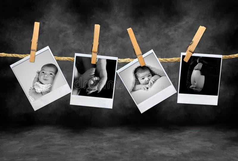 Zuigeling en Moeder Polaroid- Pho royalty-vrije stock fotografie