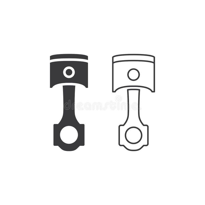 Zuigerlijn en stevig pictogram op witte achtergrond stock illustratie