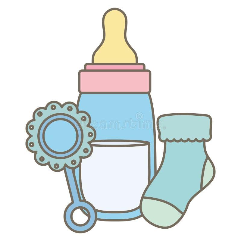 Zuigflesmelk met maraca en sok vector illustratie