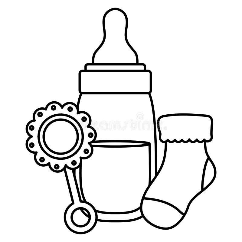 Zuigflesmelk met maraca en sok royalty-vrije illustratie
