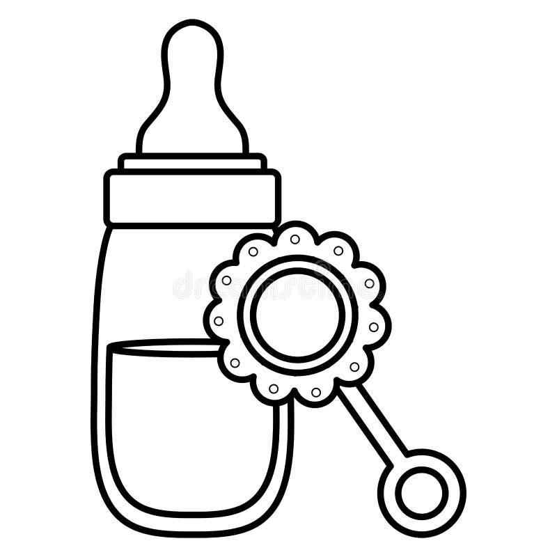 Zuigflesmelk met maraca royalty-vrije illustratie
