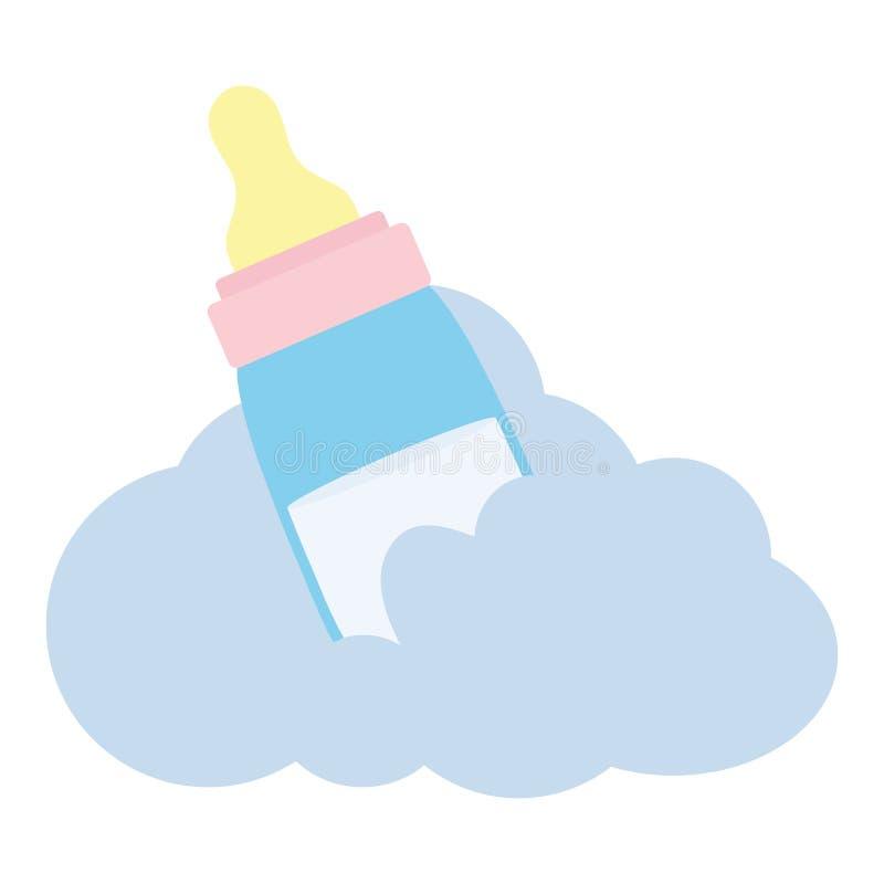 Zuigflesmelk met wolk royalty-vrije illustratie