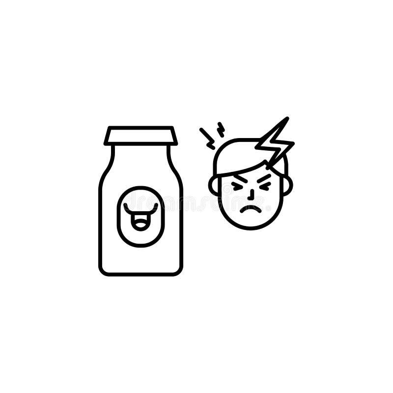 Zuivel, allergisch gezichtspictogram Element van problemen met allergieënpictogram Dun lijnpictogram voor websiteontwerp en ontwi vector illustratie
