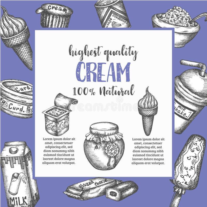 Zuivel zoete Hand getrokken vectorillustratie Als achtergrond met zuivelelementen, Uitstekende retro stijlroomijs en yoghurt royalty-vrije illustratie