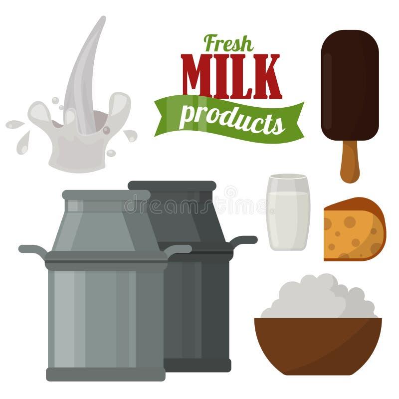 Zuivelgezonde van de het glasvoeding van de de room vector verse kaas van de zuivelproducten organische drank van het het landbou vector illustratie