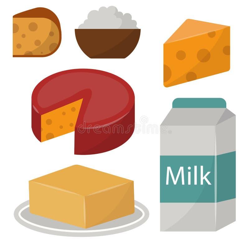 Zuivelgezonde van de het glasvoeding van de de room vector verse kaas van de zuivelproductennatuurvoeding van het het landbouwbed royalty-vrije illustratie