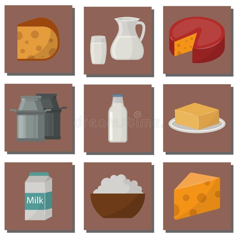 Zuivelgezonde van de het glasvoeding van de de room vector verse kaas van de zuivelproductennatuurvoeding van het het landbouwbed vector illustratie