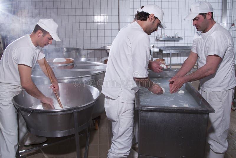 Zuivelhandelaars, die de mozarella voorbereiden royalty-vrije stock afbeelding