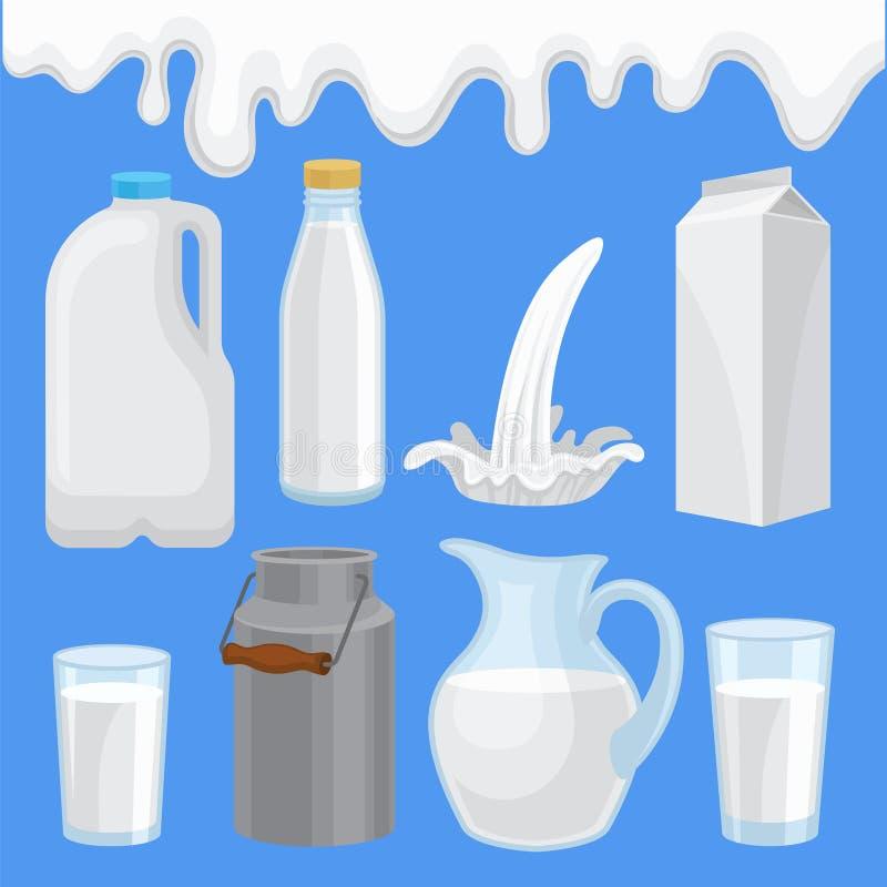 Zuivelproduct in diverse geplaatste containers, melk verpakking van verschillende vorm vectorillustraties in vlakke stijl royalty-vrije illustratie