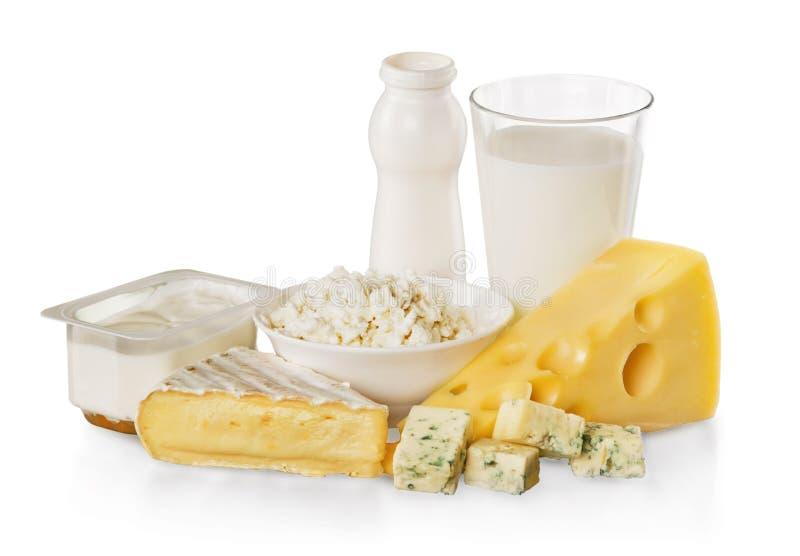 Zuivelproducten: Kazen, Yoghurt en Melk - royalty-vrije stock fotografie