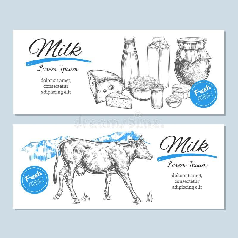 Zuivelproductenbanners, etiketten Zuivelproducten en landbouwbedrijflandschap met koe Melk, gestremde melk, yoghurt, kaas en ande royalty-vrije illustratie
