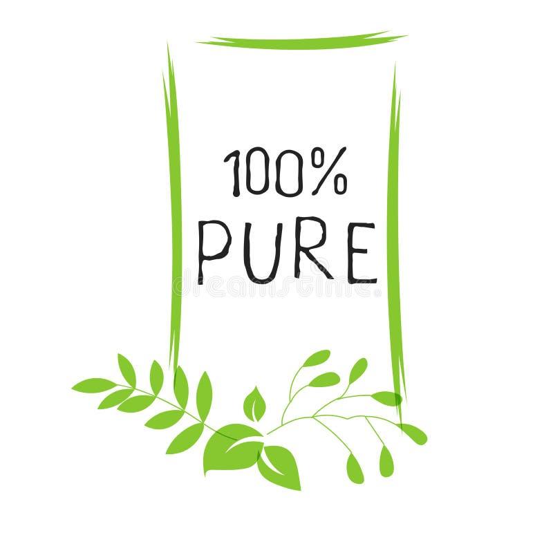 Zuiver etiket 100 en hoog - de kentekens van het kwaliteitsproduct Het bio gezonde Eco-pictogram van het voedsel organische, bio  vector illustratie