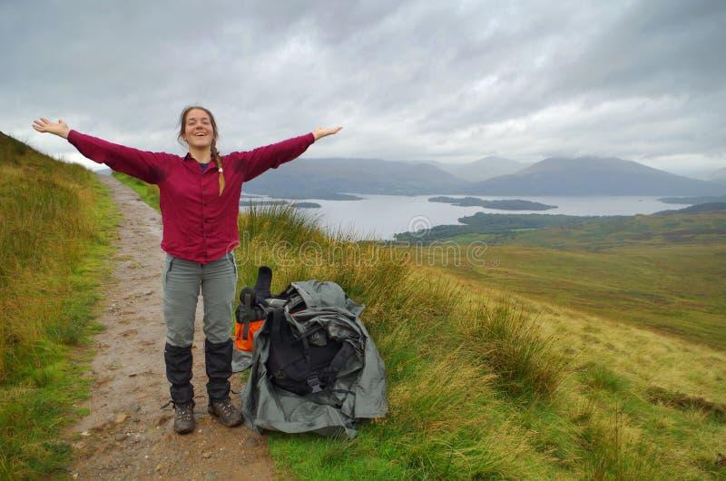 Zuiver geluk in de hooglanden van Schotland stock foto's