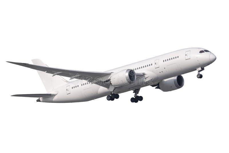 Zuiver met Boeing 787 geen embleemstart geïsoleerd zijaanzicht royalty-vrije stock afbeelding