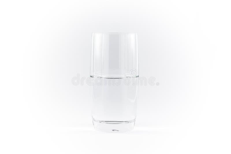 Zuiver Schoon Glas van Witte Achtergrond N van Water de Eenvoudige Minimalistic royalty-vrije stock afbeelding