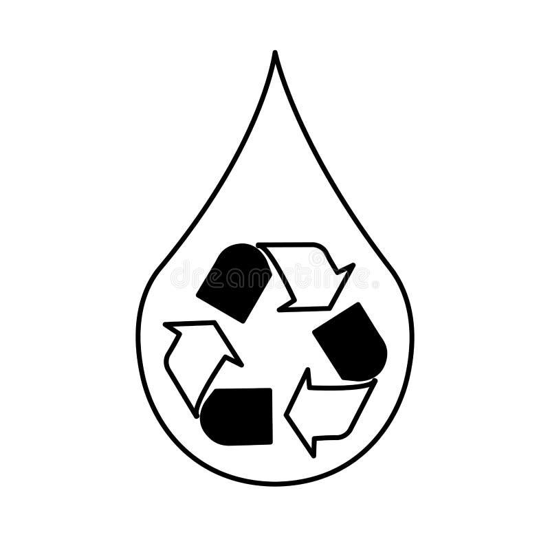 Zuiver water met kringloopsymbool royalty-vrije illustratie