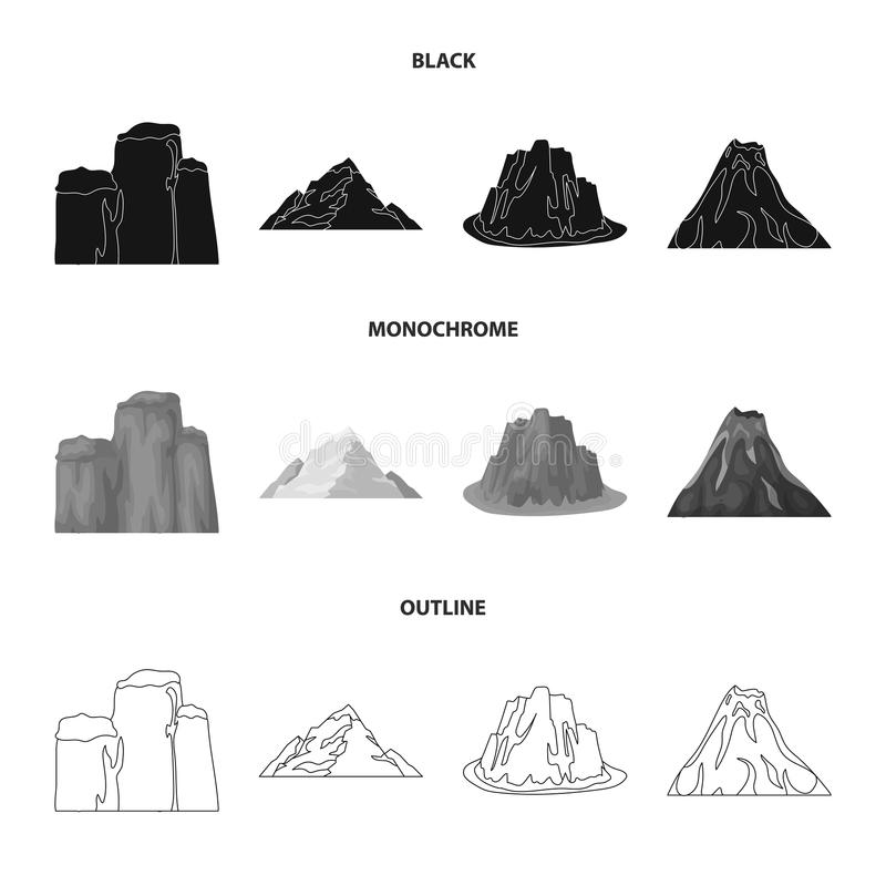 Zuivere klippen, een vulkanische uitbarsting, een berg met een strand, een gletsjer Verschillende bergen geplaatst inzamelingspic stock illustratie