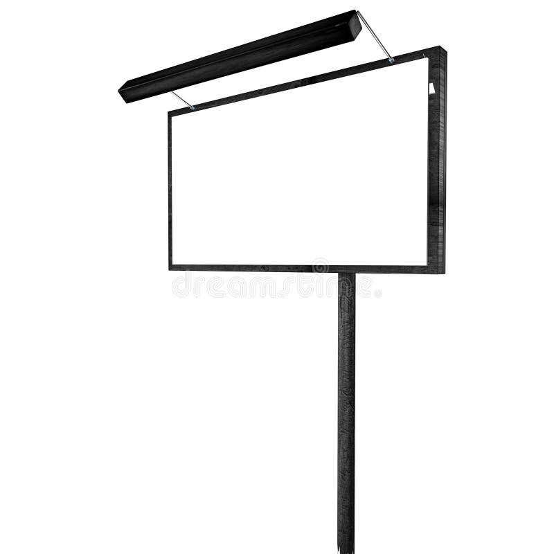 Zuivere reclamebanner op een kolom met een backlight Model op een witte achtergrond het 3d teruggeven stock illustratie