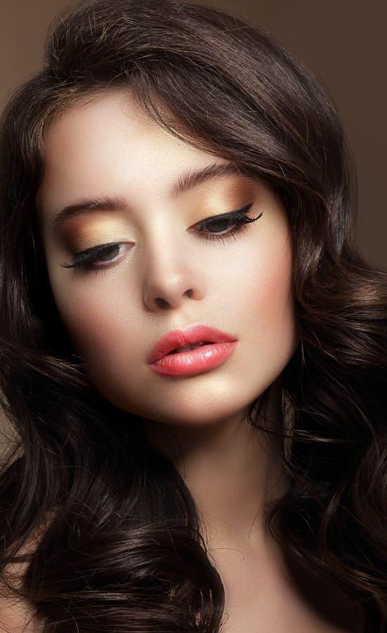 Zuivere schoonheid Portret van Jong Brunette met Glanzende Make-up stock afbeelding