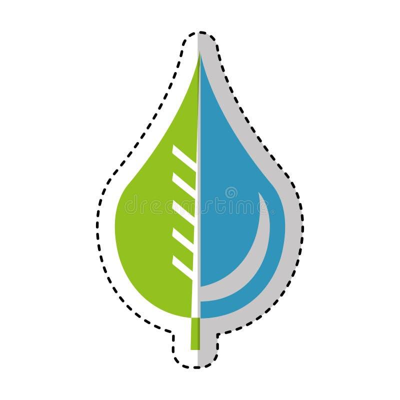 Zuivere waterdaling met bladembleem stock illustratie