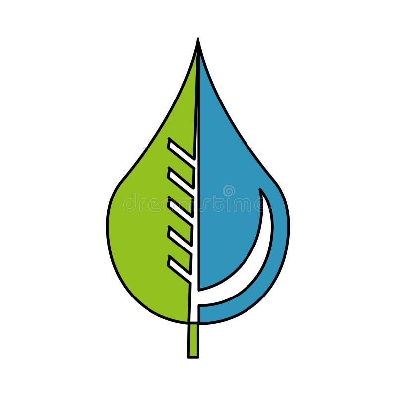 Zuivere waterdaling met bladembleem vector illustratie