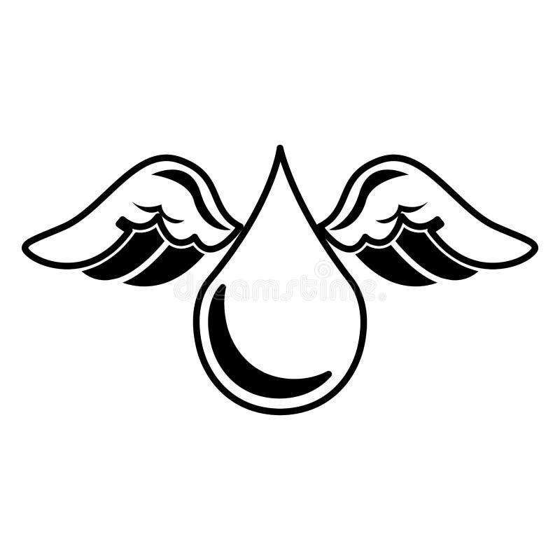 Zuivere waterdaling met vleugelsembleem vector illustratie