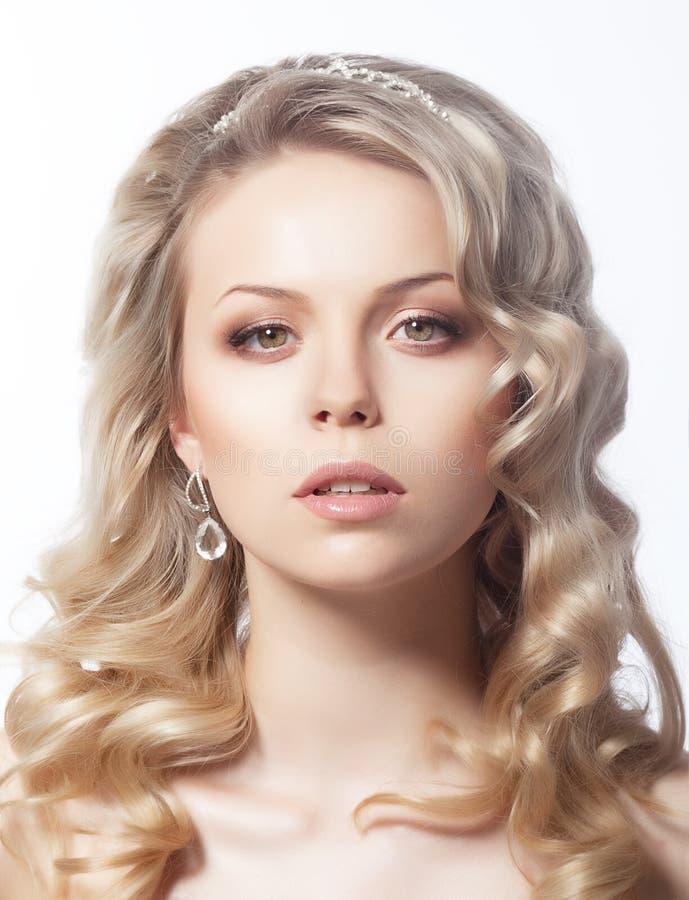 Zuiverheid - vers vrouwengezicht. Schone en vlotte huid stock foto