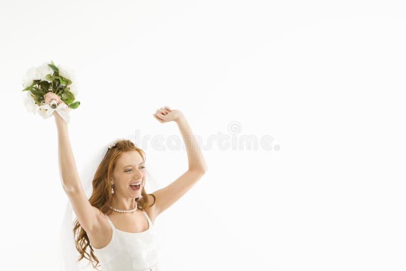 Zujubelnde Braut. stockbilder