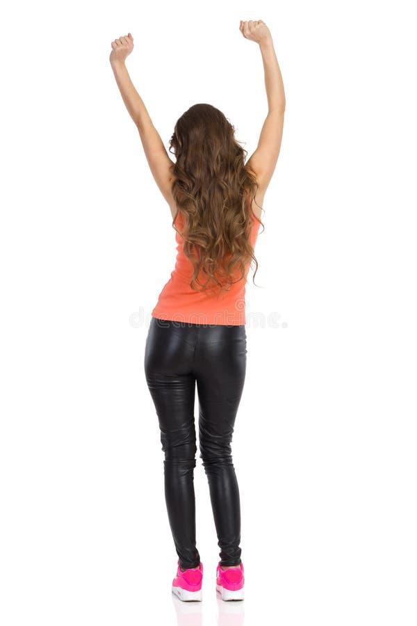 Zujubelnde Frauen-hintere Ansicht lizenzfreie stockfotografie