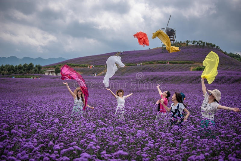 Zujubelnde Frauen im Lavendel-Freizeitpark stockfotografie