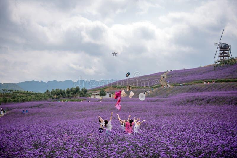Zujubelnde Frauen und Luft-Drohne lizenzfreies stockbild