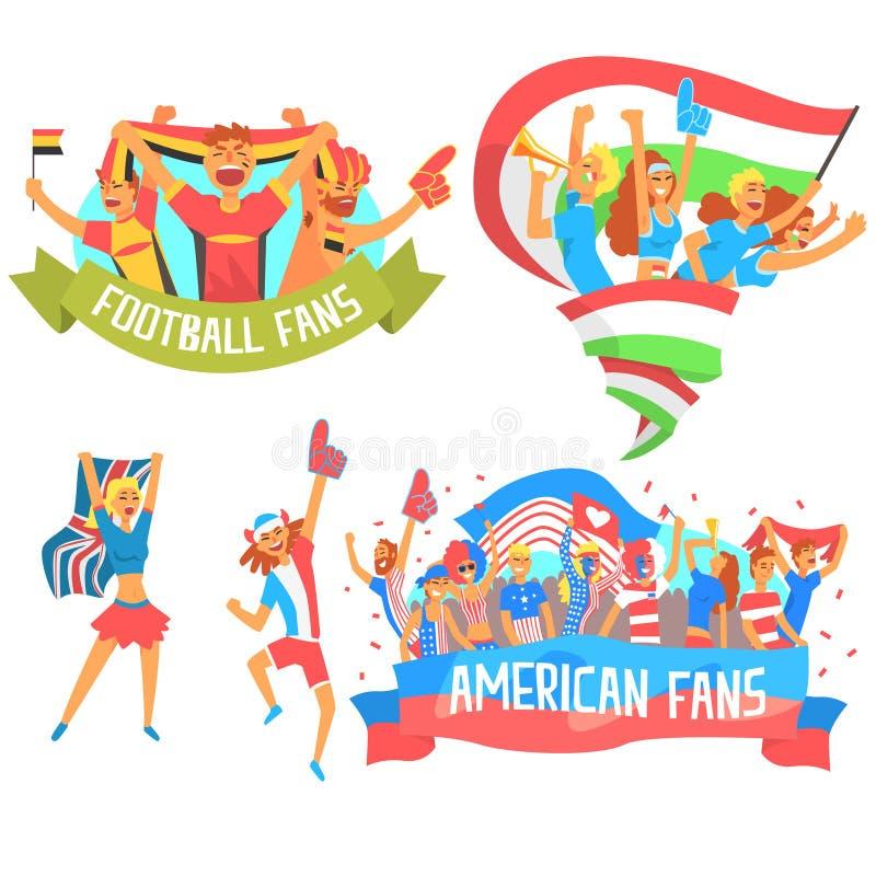 Zujubelnde glückliche Mengen von nationalen Sport-Team Fans And Devotees With-Fahnen und von Attribut-Unterstützung lizenzfreie abbildung