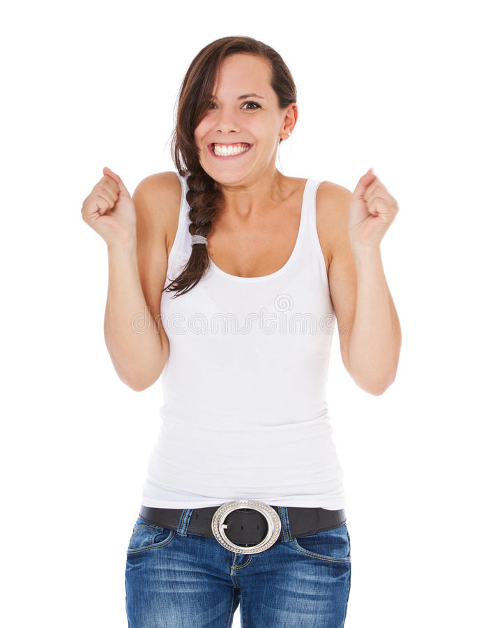 Zujubelnde junge Frau lizenzfreies stockfoto