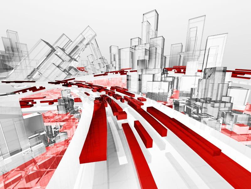 Zukünftige abstrakte Stadt lizenzfreie abbildung
