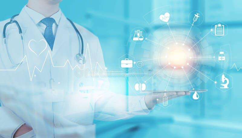 Zukünftige medizinische Technologie des ganz eigenhändig geschrieben Handys lizenzfreie stockbilder