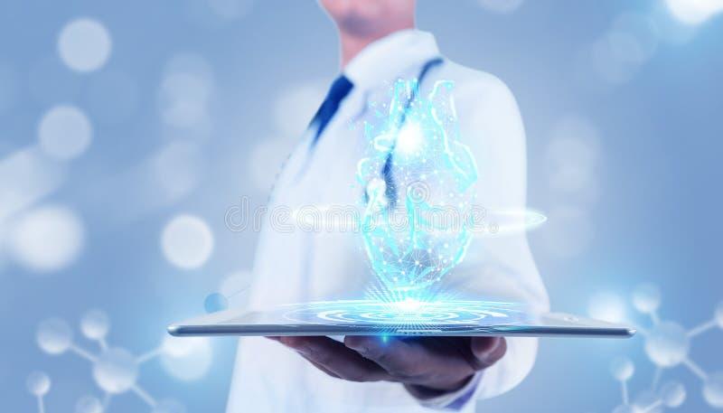 Zukünftige medizinische Technologie des ganz eigenhändig geschrieben Handys stock abbildung