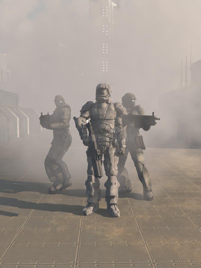 Zukünftige Raum-Marinesoldaten, die vom Nebel voranbringen lizenzfreie abbildung