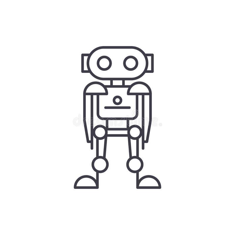 Zukünftige Roboterlinie Ikonenkonzept Lineare Illustration des zukünftigen Robotervektors, Symbol, Zeichen stock abbildung
