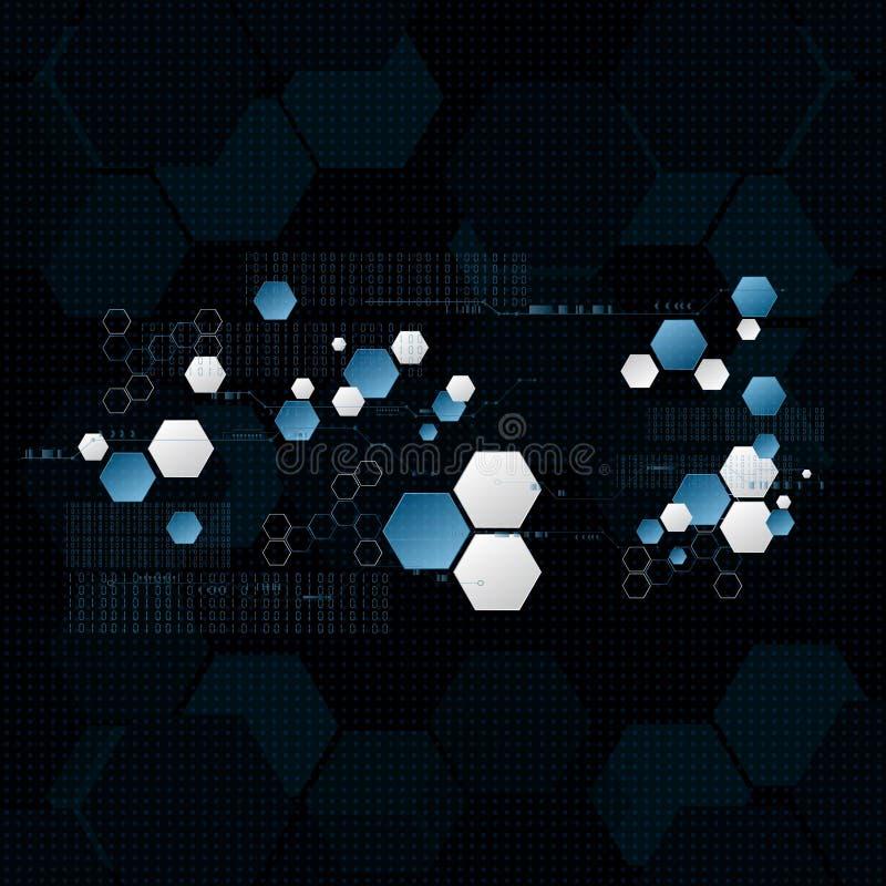 Zukünftige sechseckige Daten der technologischen Verschlüsselung, die BAC synchronisieren lizenzfreie abbildung