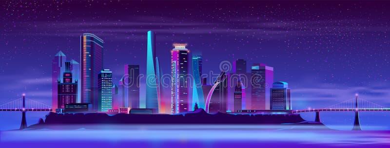 Zukünftige Stadt auf Vektorhintergrund der künstlichen Insel stock abbildung
