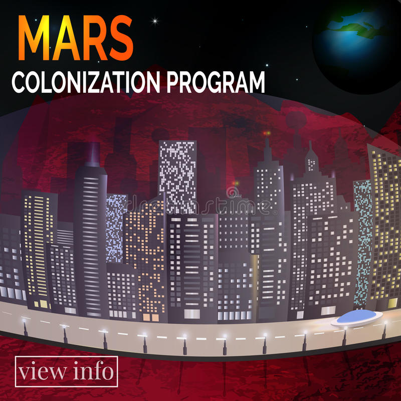 Zukünftige Stadt Mars-landskape Konzept für infographic stock abbildung