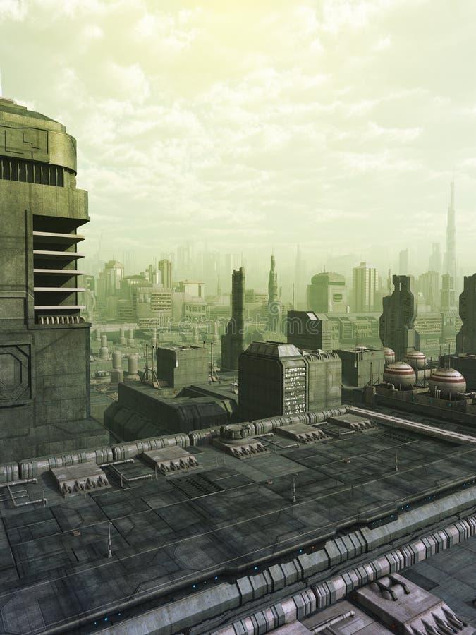 Zukünftige Stadt-Skyline im grünen Dunst lizenzfreie abbildung