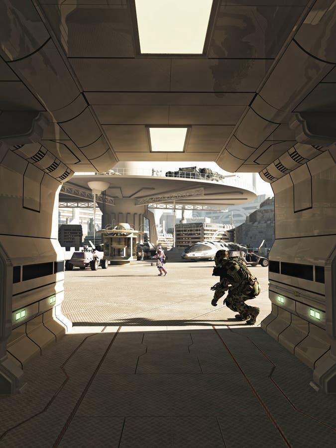 Zukünftige Stadt Spaceport-Ermordung lizenzfreie abbildung