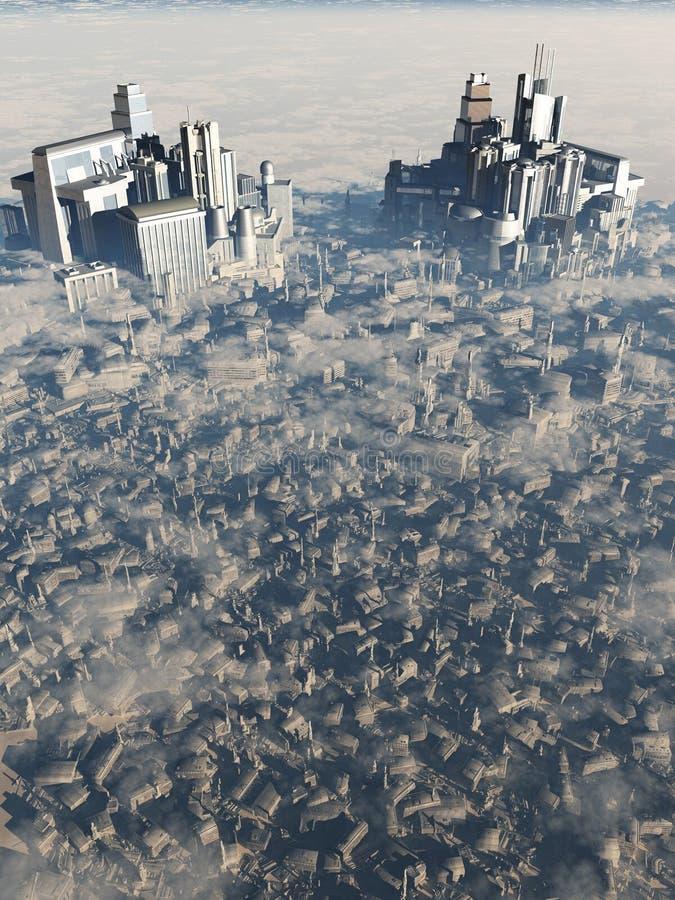 Zukünftige Stadt-Vogel ` s Augen-Ansicht lizenzfreie abbildung