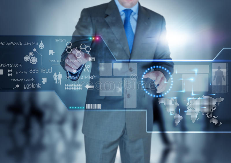 Zukünftige Technologie-Bildschirmanzeige stockbilder