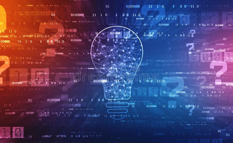 Zukünftige Technologie der Birne, Innovationshintergrund, kreatives Ideenkonzept stockfotos